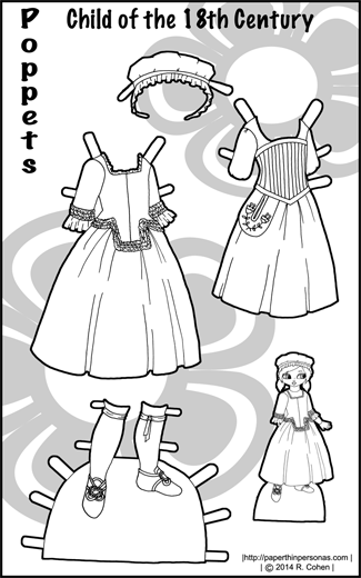 Black and white coloring sheet of paper doll clothes from the 18th century