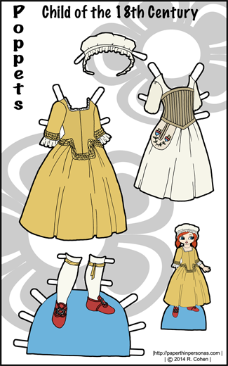 Full color Poppet Paper Doll clothes from the Revolutionary War period