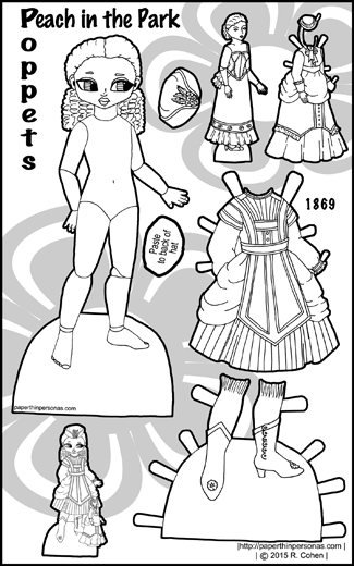 A black and white printable paper doll of a ball-jointed doll with Victorian 1870s clothing and her own doll to dress. Peach is part of the Poppet series and can share clothing with the other dolls in that series.