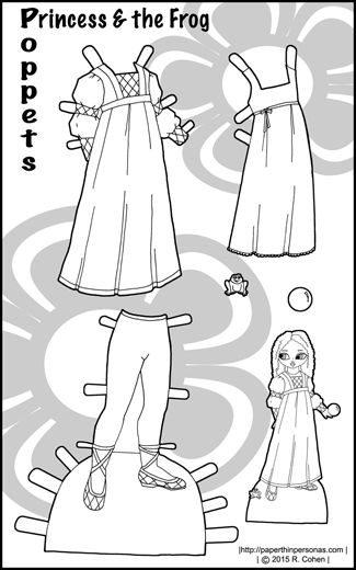 Medieval inspired fantasy outfits for the Poppet paper dolls coloring pages