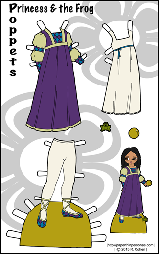 Medieval inspired fantasy outfits for the Poppet paper dolls