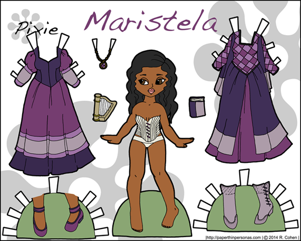 Printable female warrior paper doll in color