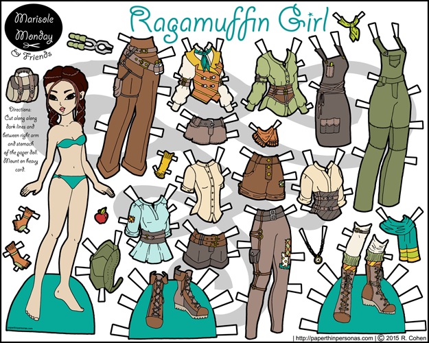 Ragamuffin Girl- Steampunk paper doll inspired by Newsies in full color