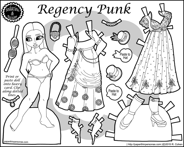 Regency Punk: a black and white paper doll coloring page inspired by combining steampunk and regency dress elements