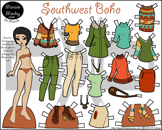 Printable Asian paper doll in full color inspired by the Southwestern fashion trend of Fall 2014