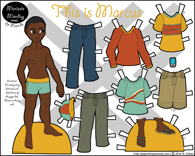 Printable paper doll of a young black man with casual contemporary clothing