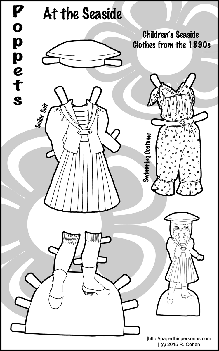 A historical paper doll dress from the late 1890s for a child, free to print from paperthinpersonas.com. It fits the Poppet series of paper dolls.