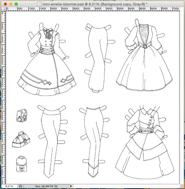 The paper doll set after I spent 25 minutes working on it.