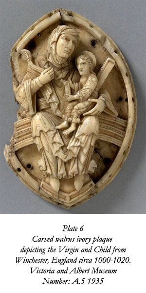 An ivory plaque dating between 1000-1020 depicting the Virgin and Child