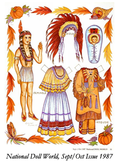 Native American Paper Doll from Doll World 1987
