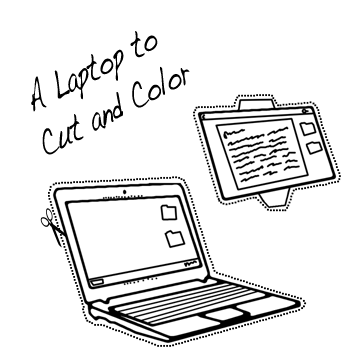 Black and White Laptop to Clip and Color