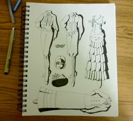 pencil sketch of paper doll clothing