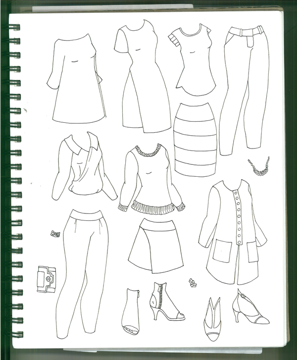 Sketches of Future Paper Doll Sets
