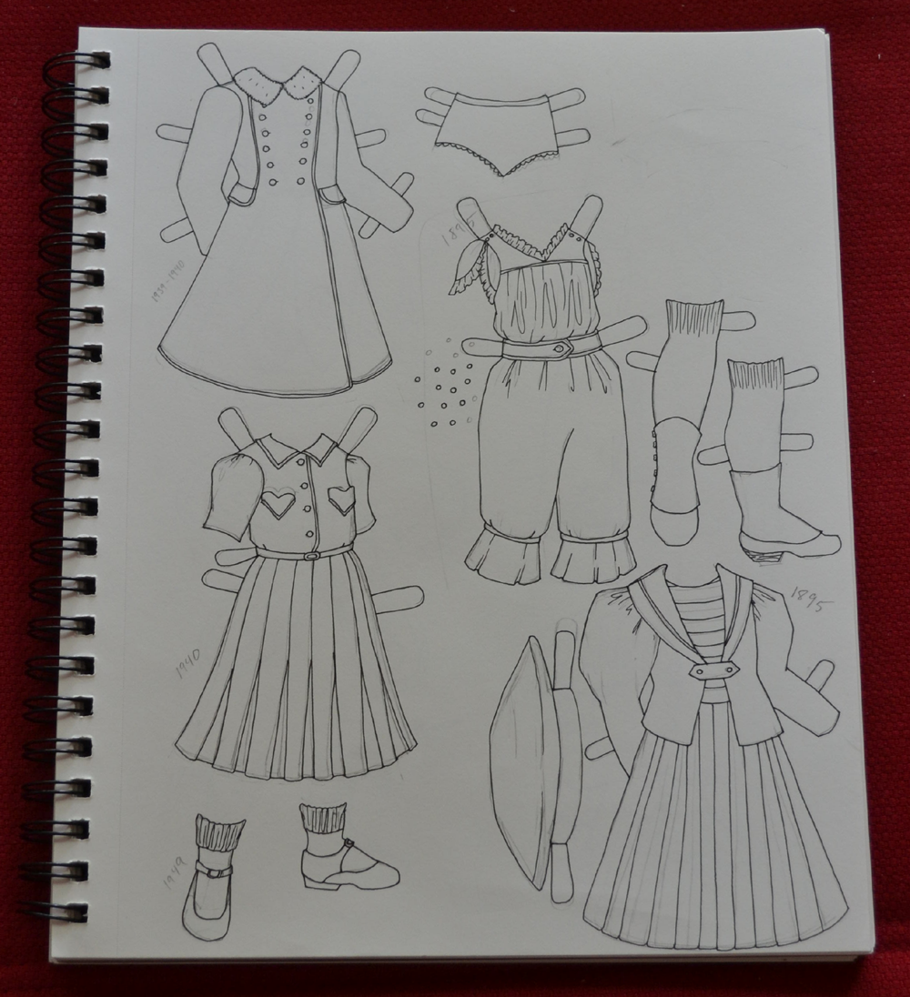 A photograph of my sketchbook on a red background which contains outfits for the Poppet series. A 1940s paper doll outfit and a 1890s paper doll outfit.