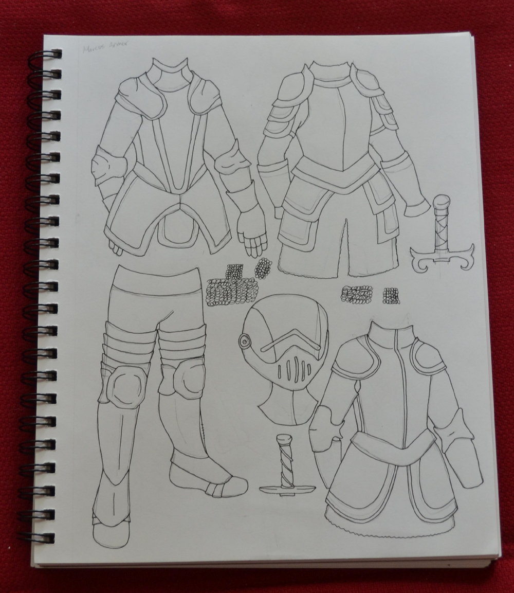 A photograph of my sketchbook on a red background which contains drawings of armor for my Marcus paper dolls.