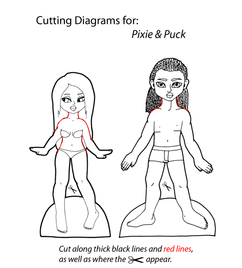 Cutting Diagram for Pixie & Puck