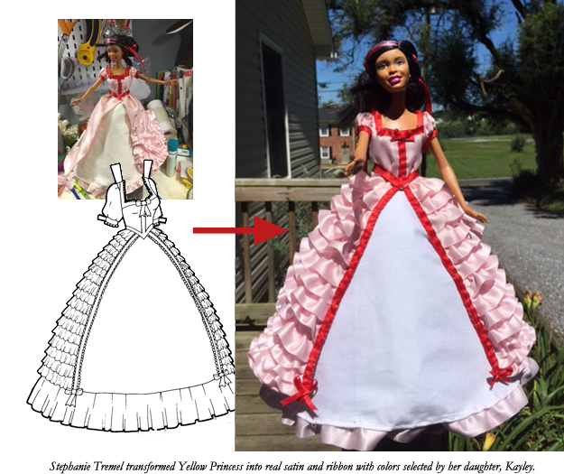 Stephanie Tremel transformed my Yellow Princess paper doll gown into a real Barbie dress using satin, ribbon and her own drafted pattern.