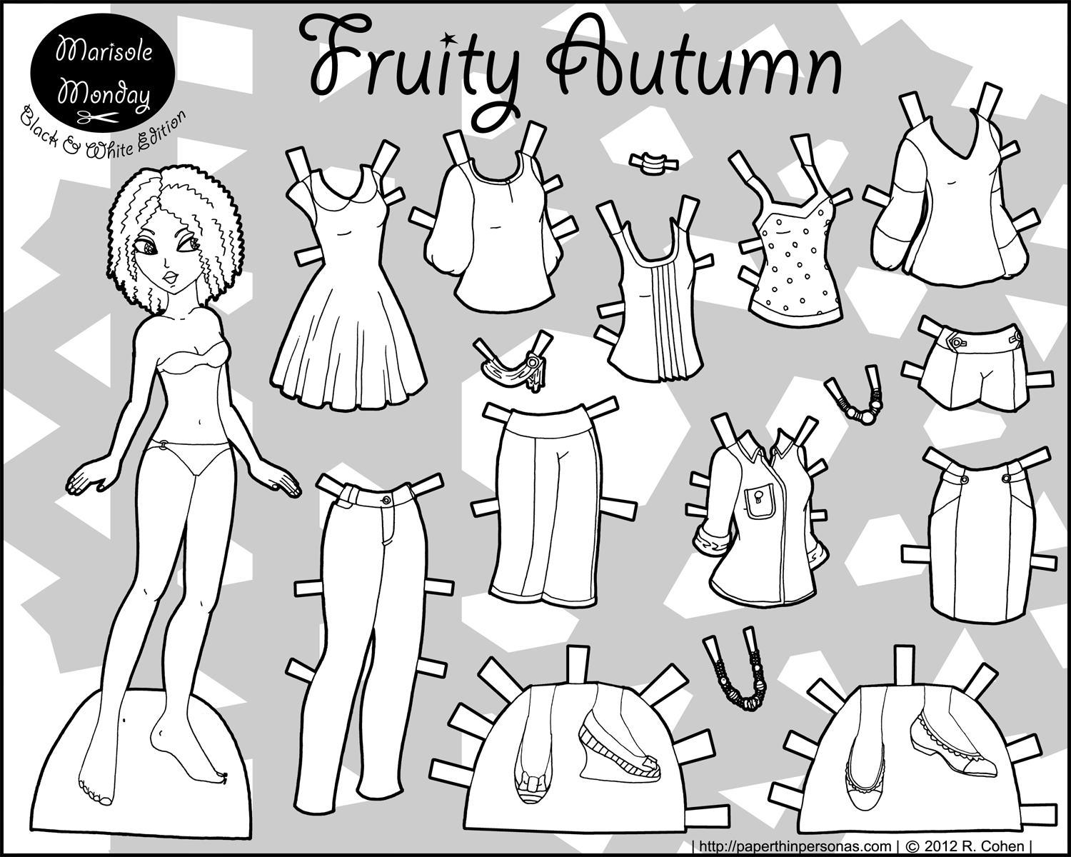 printable paper doll fruity autumn bw
