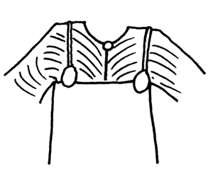 Hägg's proposed pleating pattern with the brooch at the neck of the shirt. My quick doodle from Hägg's own far more detailed drawings.