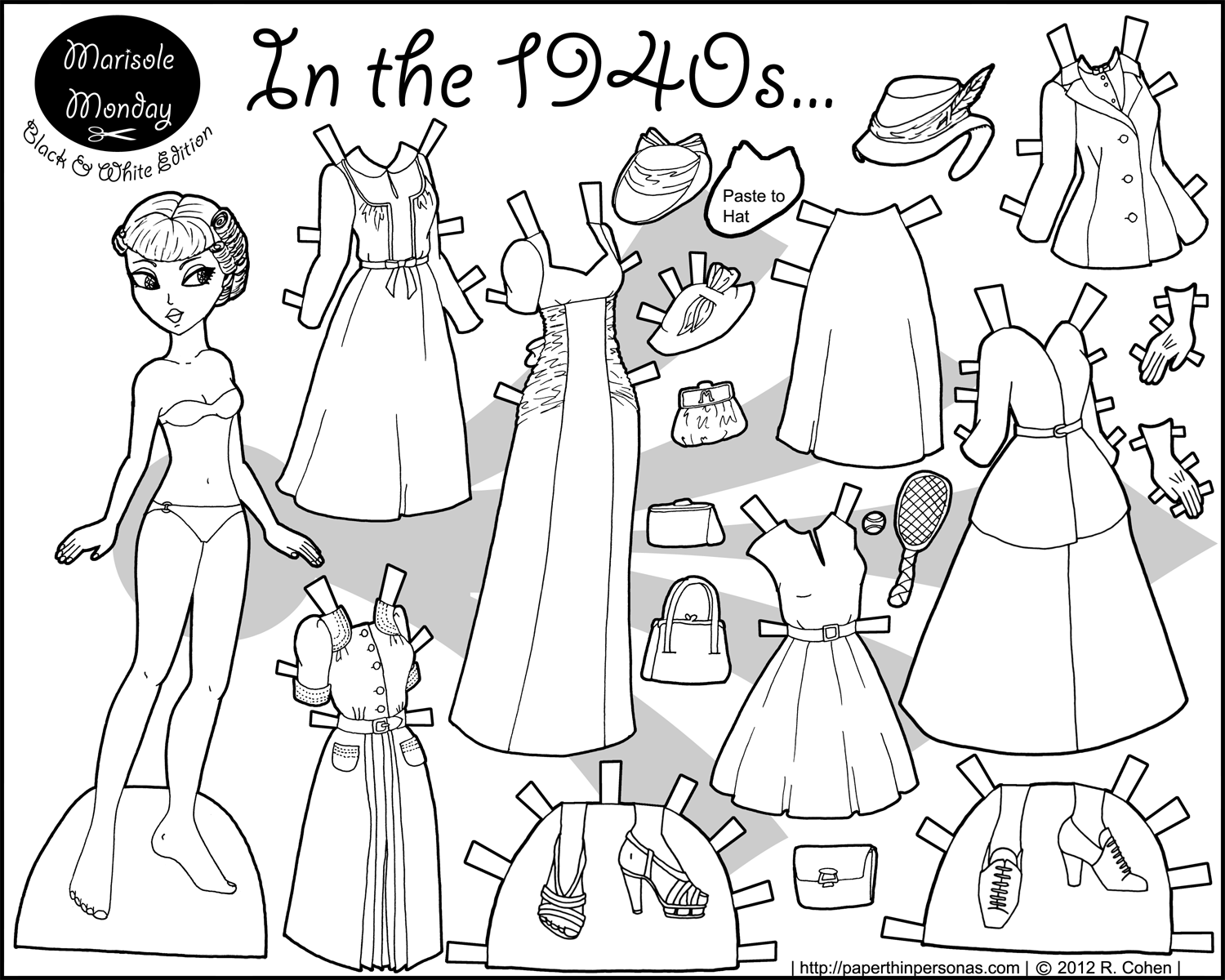 In the 1940s... Paper Doll Coloring Page • Paper Thin Personas