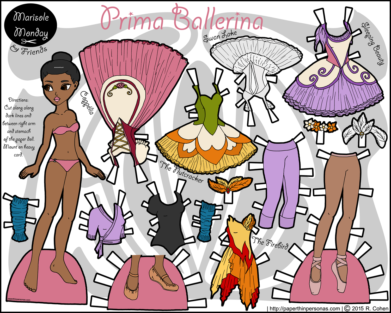 african american ballerina paper doll color