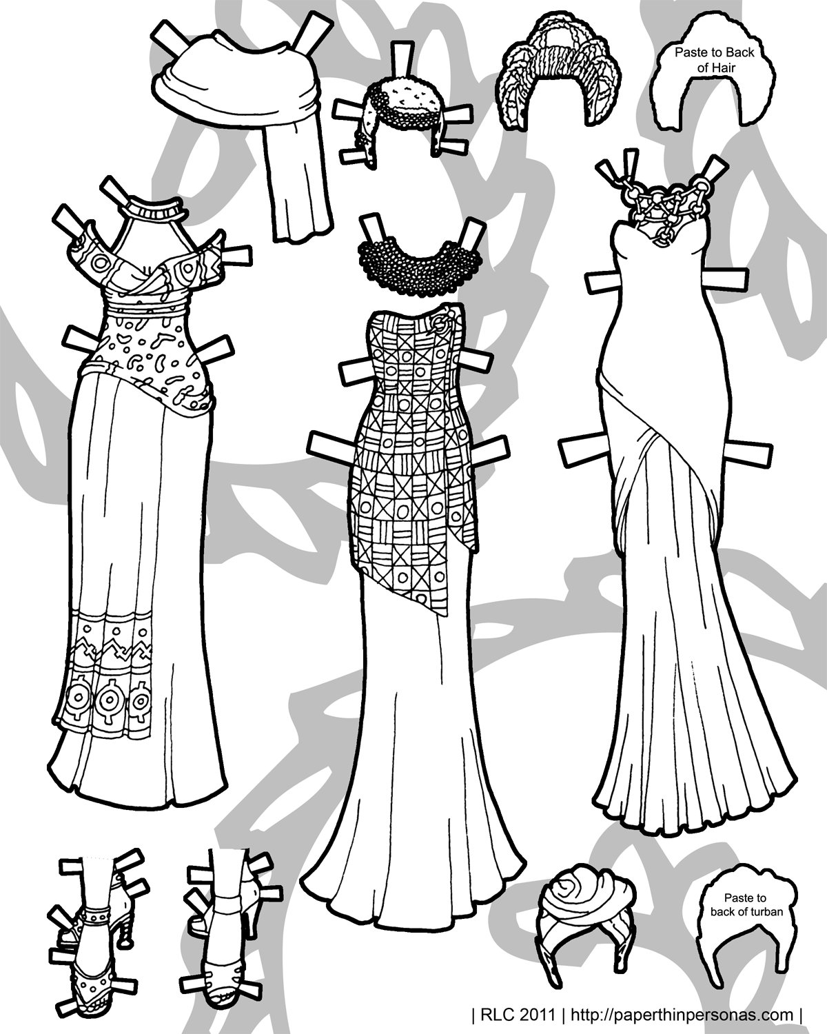 African Inspired Elf: Paper Doll Coloring Page • Paper Thin Personas