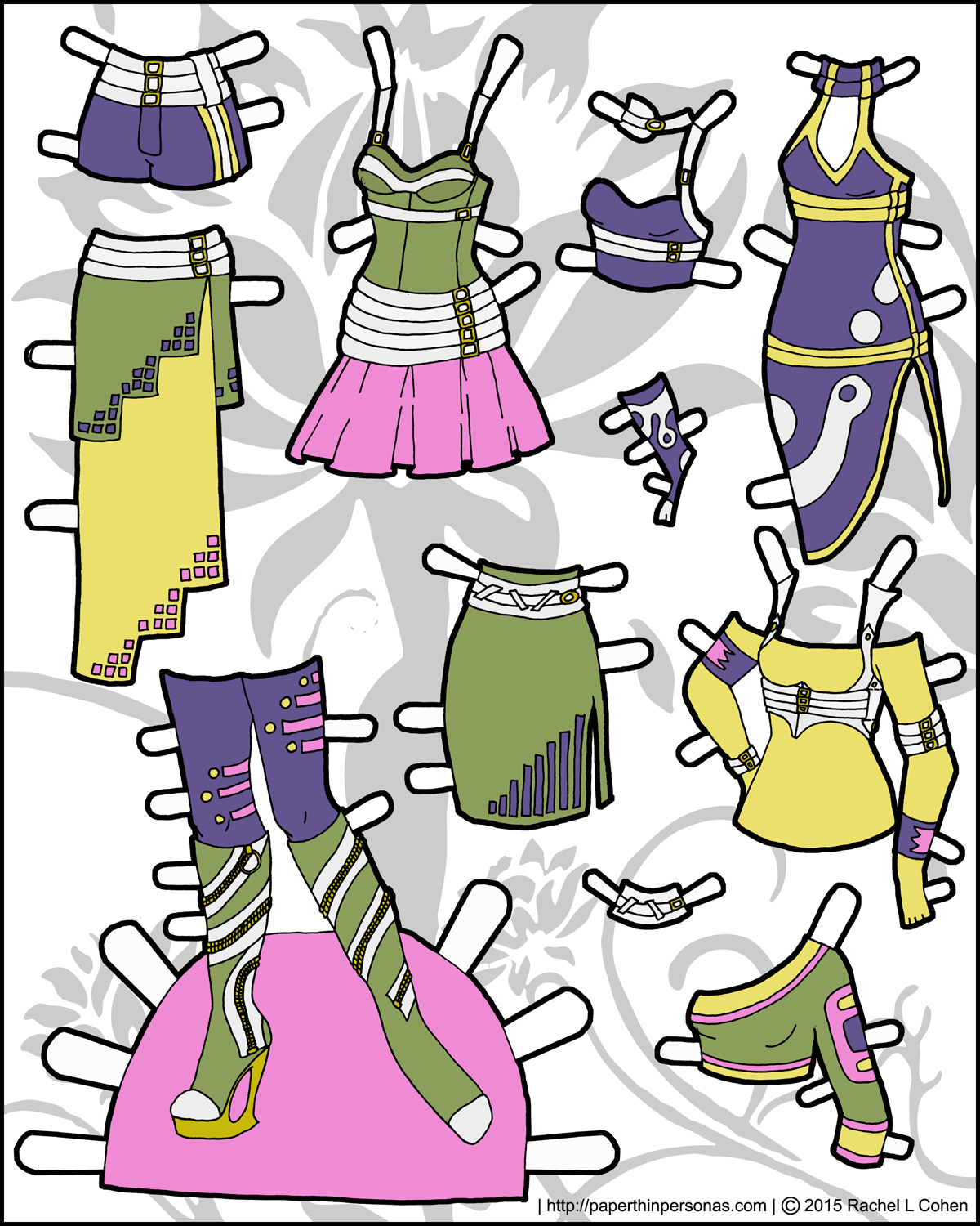 Full color sci-fi fashions for the Ms. Mannequin paper dolls.