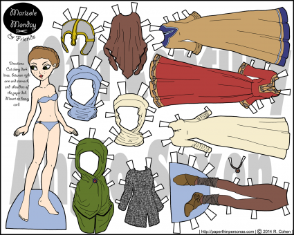 A historical paper doll in Anglo-Saxon dress from the 10th century in full color for printing from paperthinpersonas.com