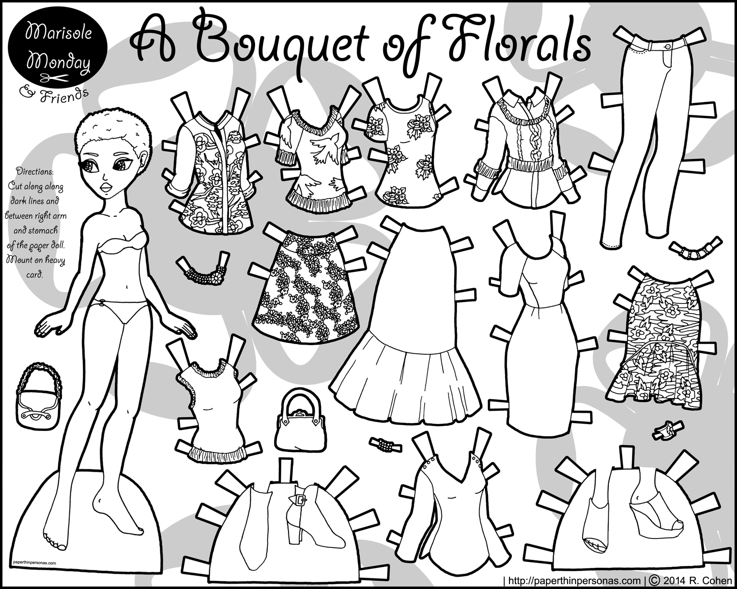 Uncategorized Paper Doll Coloring Page printable paper doll coloring page bouquet of florals page