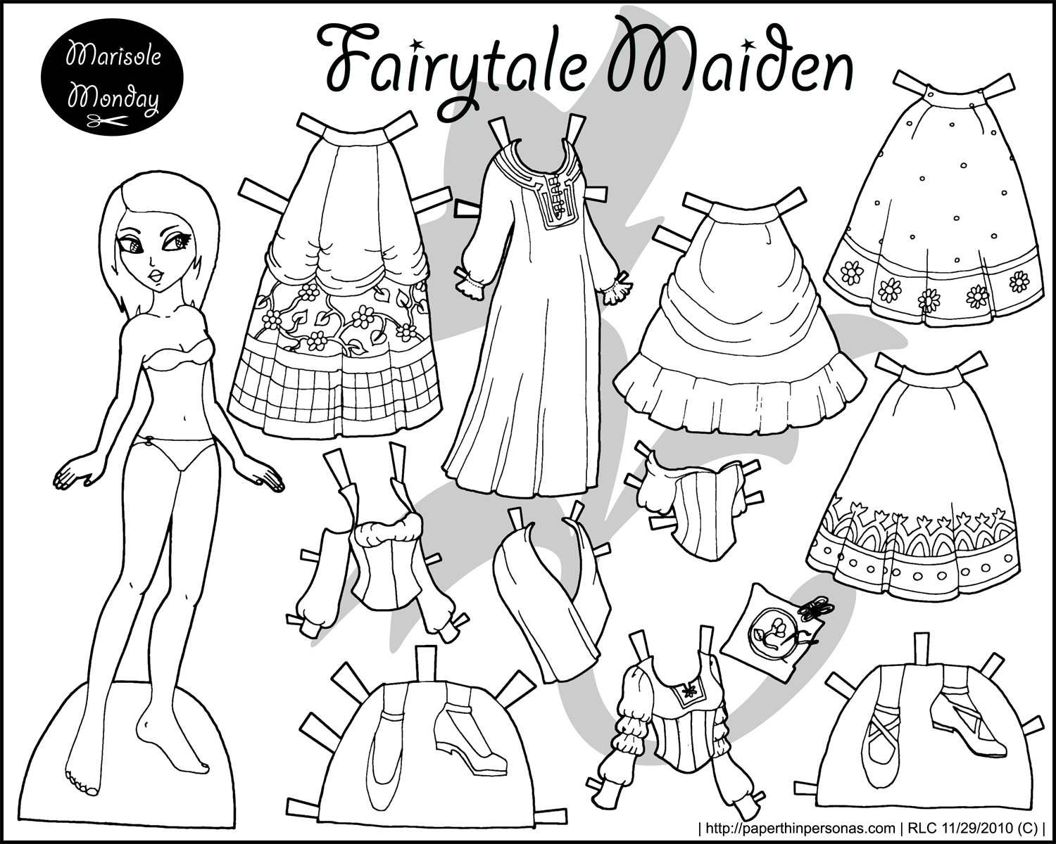 Beautiful A Fairy Tale Maiden Black And White Princess Coloring Page To Print And  Dress Up.