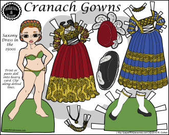 ranach Gowns, a paper doll of a 15th century Saxony dress in Germany with two gowns, two hats, one pair of shoes in color for printing