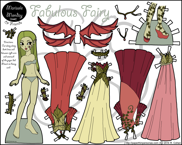 A fairy paper doll with wings and four gowns. Free to print from paperthinpersonas.com