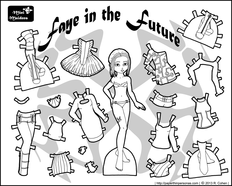 mini maidens faye of the future a black and white printable paper doll paper thin personas. Black Bedroom Furniture Sets. Home Design Ideas