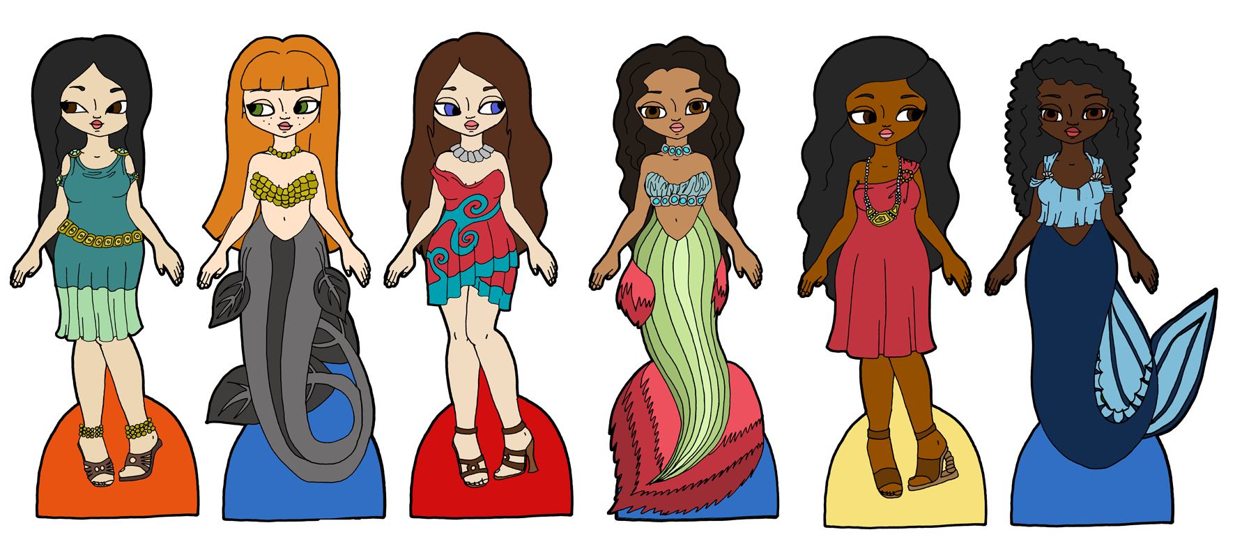 mermaids paper The red-headed woman paper doll in this free printable can be transformed into a mermaid with a green tail seashells free to download and print.