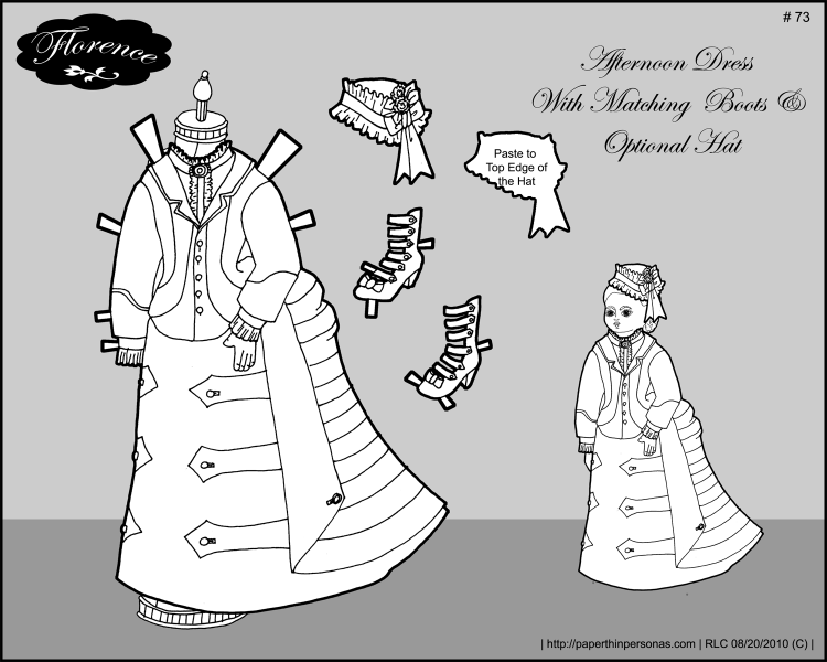 An afternoon dress for Florence, a printable paper doll of a French fashion doll from the 1870s.