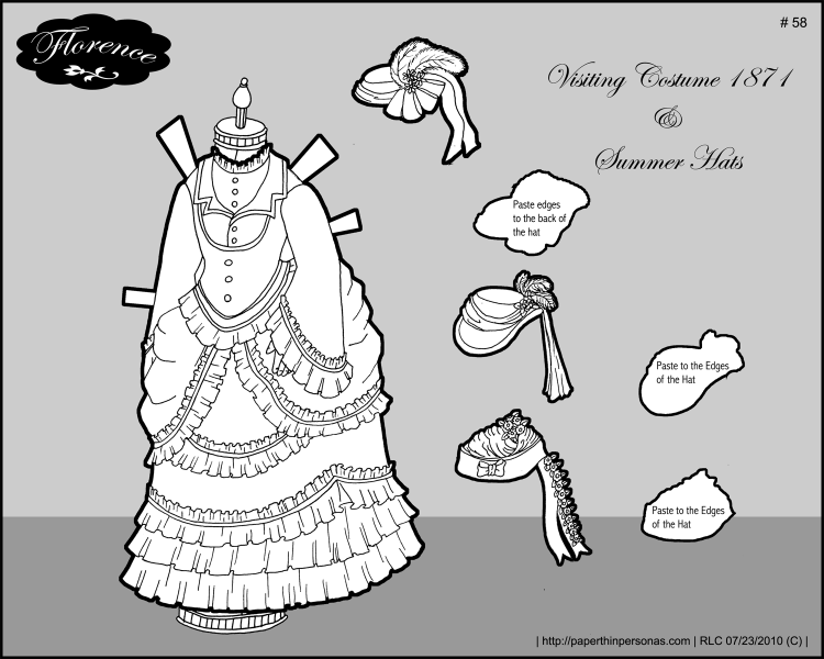 A visiting dress for Florence, my paper doll of the 1870s.