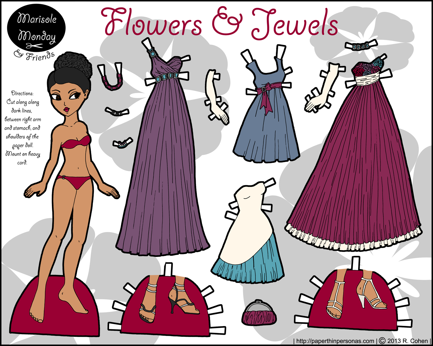 Flowers Jewels Marisole Paper Doll Color