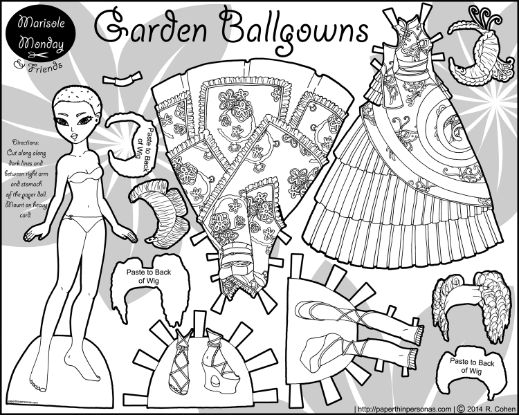 A paper doll coloring page and her two fantasy ballgowns, three wigs and two pairs of shoes. Inspired by Wa and Qi Lolita dresses.