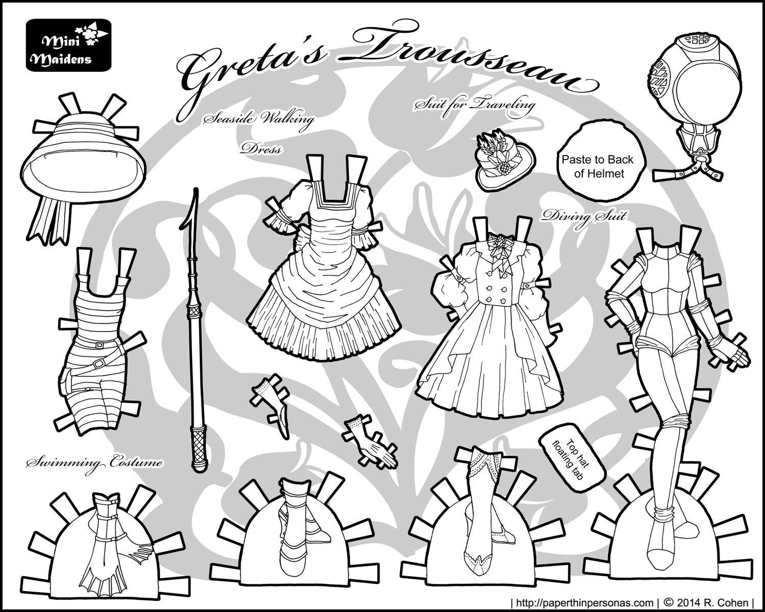 Greta 39 s trousseau archives paper thin personas for Free printable paper doll coloring pages