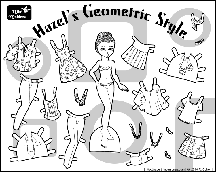 A printable paper doll to color named Hazel and her twelve piece contemporary fashion wardrobe. Free printable coloring sheet from paperthinpersonas.com