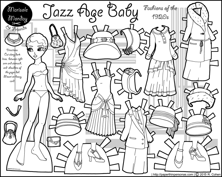 A black paper doll coloring page with twenties fashions including five dresses, seven hats and two pairs of shoes. Free to print and color from paperthinpersonas.com.