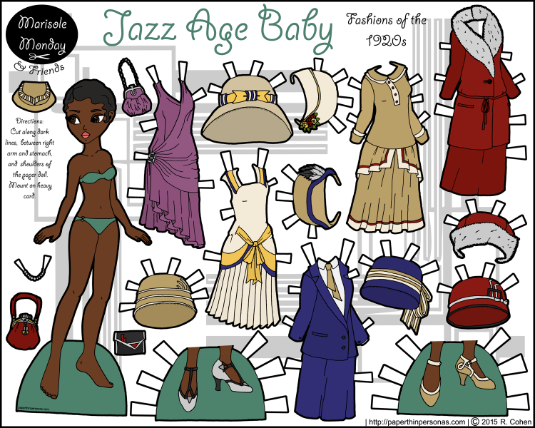 A black 1920s fashion paper doll with five dresses, seven hats, and two pairs of shoes. Free to print and color from paperthinpersonas.com
