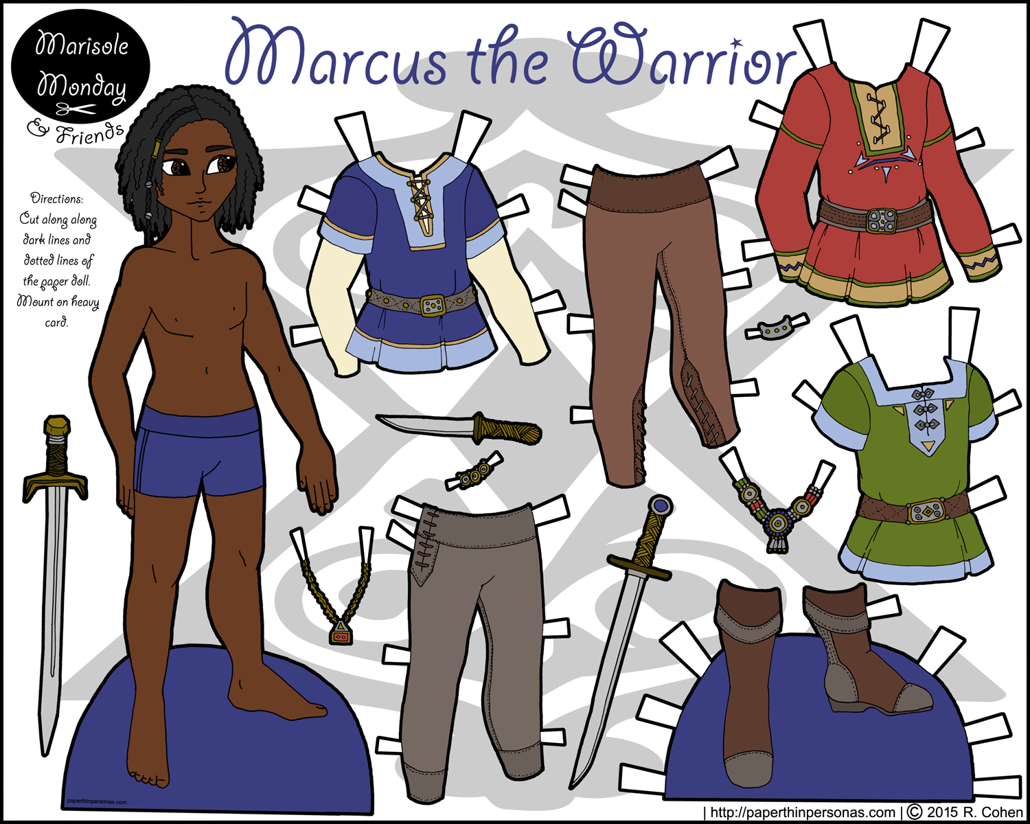 marcus the warrior printable paper doll in color