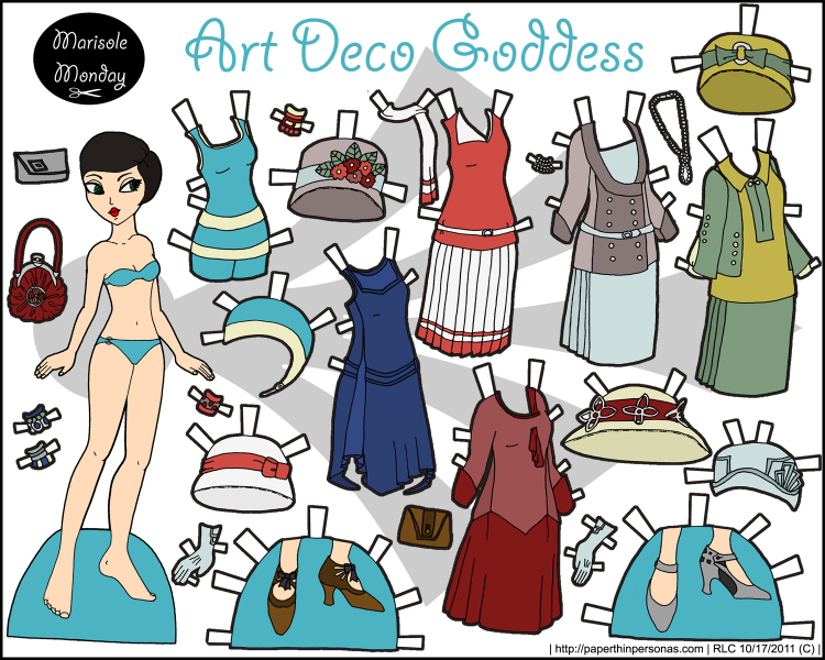 A flapper printable paper doll in full color with an eighteen piece mix and match wardrobe from suits to swimsuits. Free to print from paperthinpersonas.com.