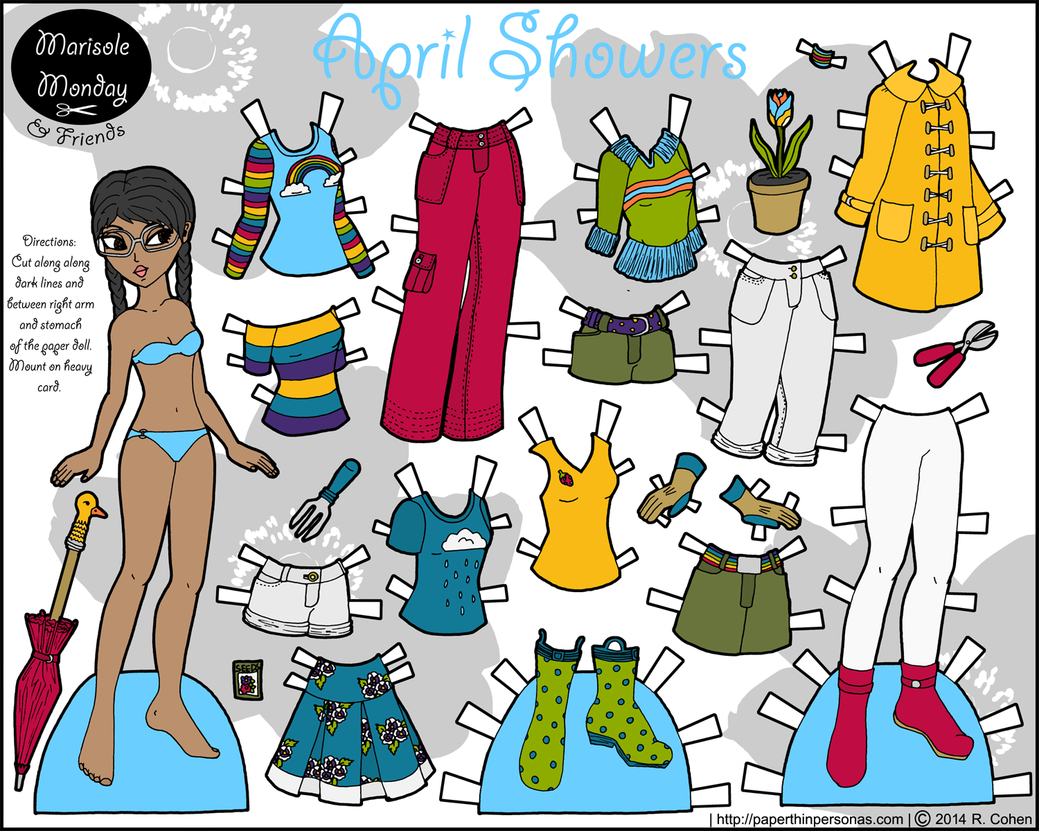 April Showers Printable Paper Doll for Kids or Adults