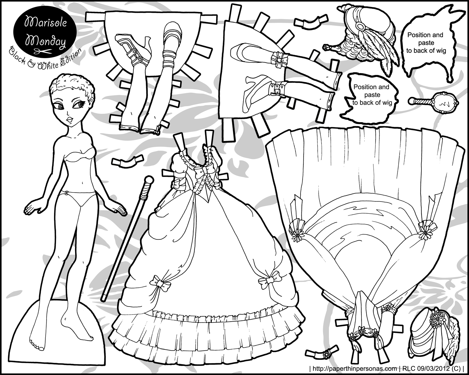 roccoco fantasy paper doll in black and white paper