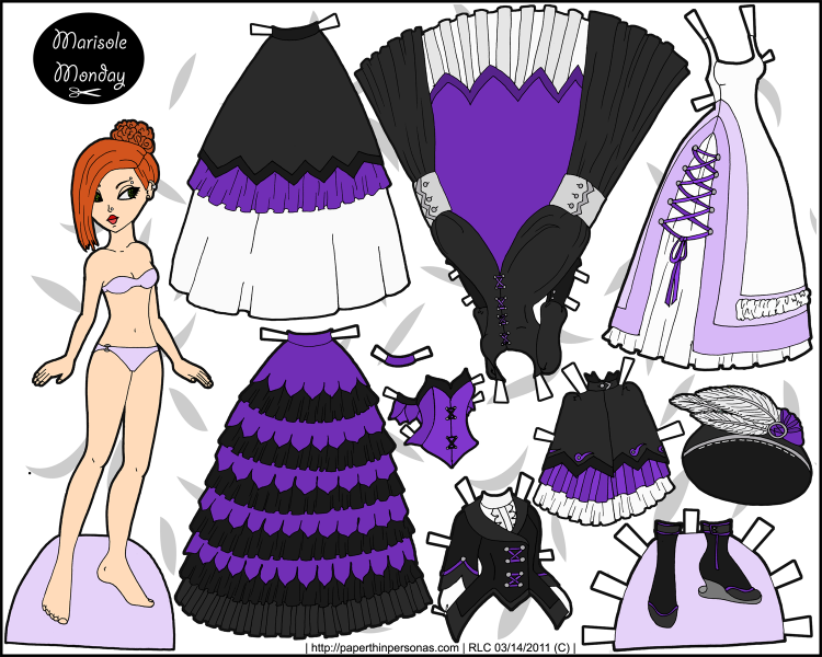 A fantasy printable paper doll set with a redheaded paper doll and several pieces of black and purple mix and match clothing options. Free to print from paperthinpersonas.com