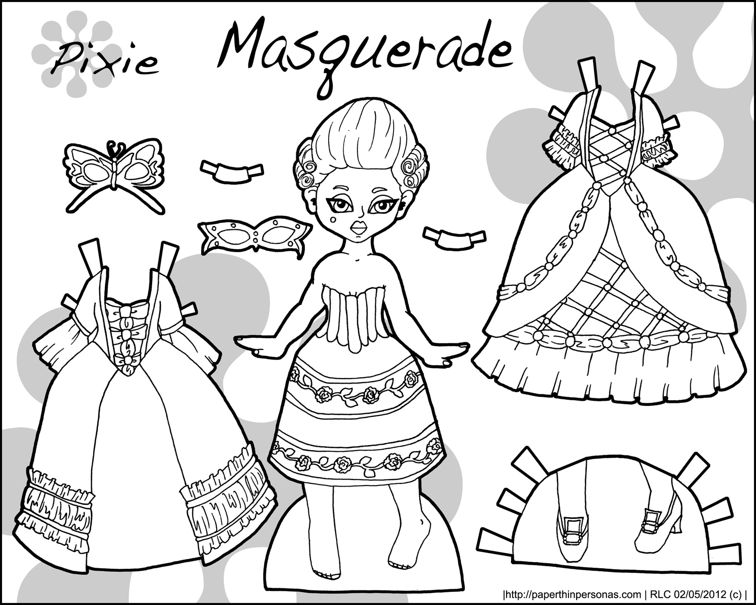 Victoria coloring dresses victorian clothes colouring pages page 2 - Masquerade Pixie Black White