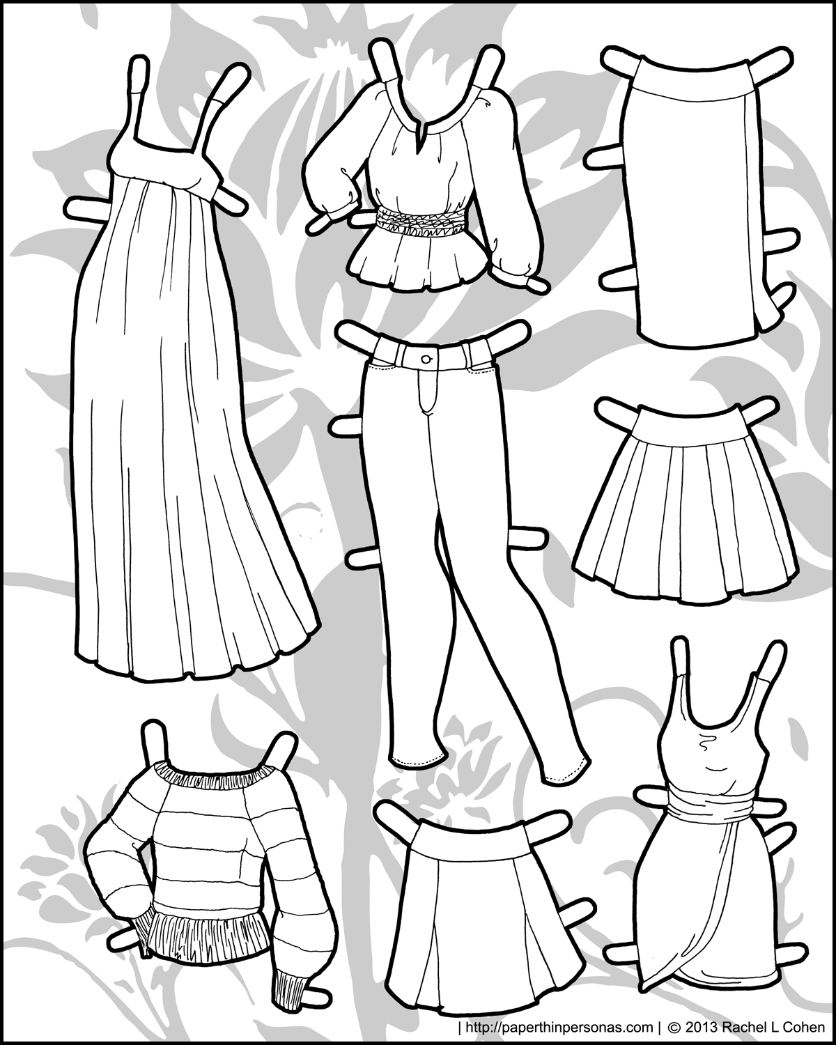 Paper doll clothes skinny jeans and peasant tops for Clothing coloring page