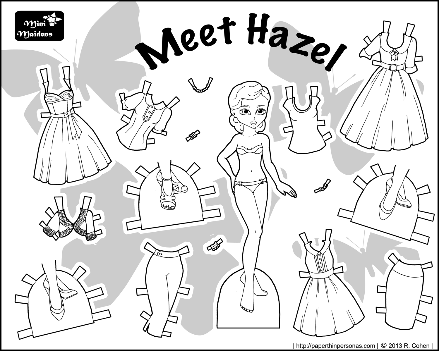 Hazel archives paper thin personas for Free printable paper doll coloring pages